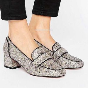 ASOS Shoes - Sprint ASOS Glitter Heeled Loafers. New.